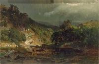 voralpenlandschaft mit malerischem flusslauf und rehen an der tränke by carl julius e. ludwig