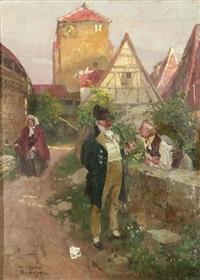 dörfliches idyll mit zwei männern im gespräch by wilhelm roegge the younger
