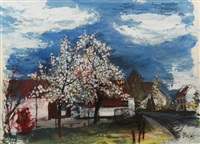 farmhouse with blossoming trees by charles eyck