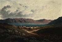 blick von einer anhöhe auf eine orientalische stadt am ufer eines bergsees by paul rudolf linke