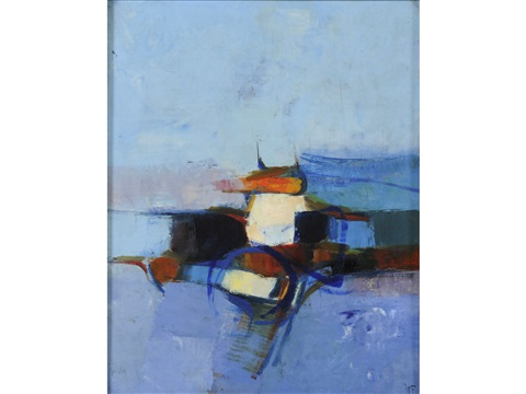vertical landscape study blue and orange by donald hamilton fraser