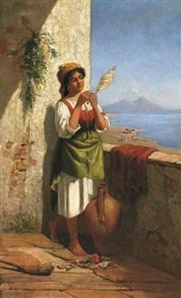 junge italienierin vor der bucht von neapel by laura theresa alma-tadema