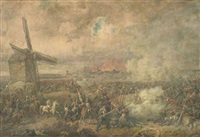 schlachtenszene mit napoleon vor dem hintergrund einer brennenden stadt by johann baptiste heinefetter