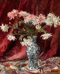 flowers in a blue and white vase by mary nicol neill armour
