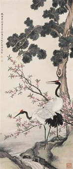 桃花双鹤 (crane and peach blossoms) by ma jiatong