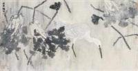 荷塘微烟 (lotus and birds) by xu xiaobin
