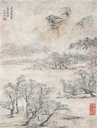 柳堤春色 立轴 纸本 by wu ding