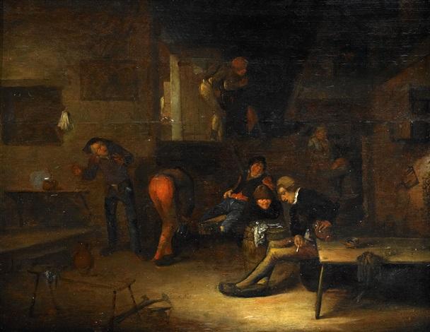 kroginteriör med rökande män by egbert van heemskerck the elder