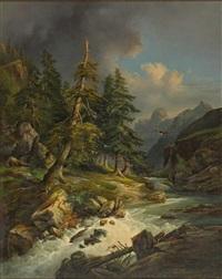 hochgebirgslandschaft mit wildwasser und geier. malerischer lichteinfall auf katarakt by karl franz emanuel haunold