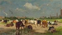 lagernde kühe vor einer stadt (vermutlich karlsruhe-daxlanden) by wilhelm friedrich frey