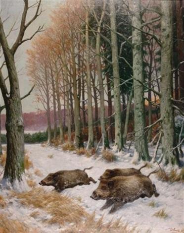 wildschweinrotte am rande eines verschneiten buchenhains by wilhelm arnold