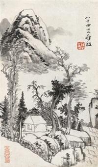 山居图 立轴 纸本 by luo mu (lo mou)