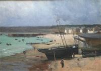 beached boats by gustave edouard le senechal de kerdreoret