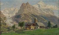 hochgebirgslandschaft mit gletscher, im vordergrund malerisches kirchdorf by olof arborelius
