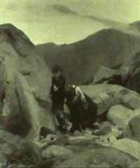 zwei kinder an einer felswand im hochgebirge by wilhelm simmler