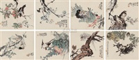 花鸟 (calligraphy) (set of 12) by xu wan