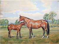 a mare and foal in a field (2 works) by dorothy and elizabeth alderson
