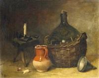 küchenstilleben mit weinballon und tonkrug sowie einem schemel und kerzenständer. attendu by antoine-ferdinand attendu