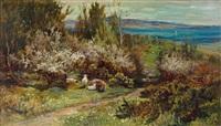 schottische frühlingslandschaft mit ruhender schafherde unter blühenden büschen und blick auf gewässer by joseph denovan adam