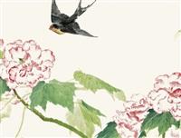 小燕芙蓉 (swallow and peonies) by liu yong