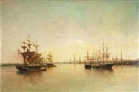 abendliche hafeneinfahrt mit zahlreichen segelschiffen by eugène gabriel jaboneau