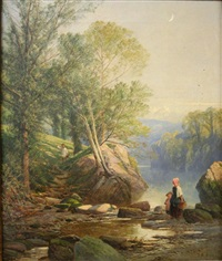 a sunny afternoon (+ meeting on a path; pair) by frederick william hulme