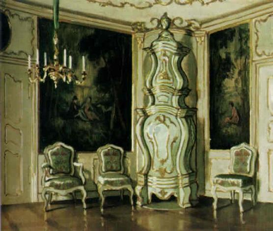 schloßinterieur mit großem barockem keramikofen kronleuchter und großen wandtapisserien by istvan zador