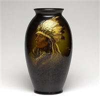 rozane portrait vase depicting chief ghost bull by arthur dunleavy