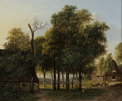 landscape with sheep sold with 190b set of 2 by jan hendrick aikes