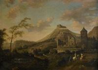 pastoralt landskap med ridande sällskap by ludolf de jongh