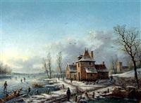 skojtelobere og huse i et vinterlandskab under blå himmel by albert-alexandre lenoir