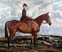 portrait of a lady riding side saddle by frederic whiting