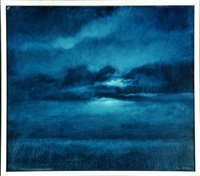 nachthimmel mit wolken über kornfeld by peter ritzer