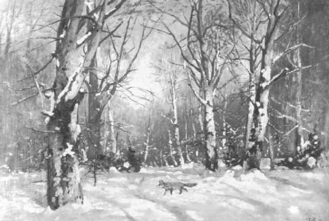 fuchs im verschneiten wald by wilhelm arnold