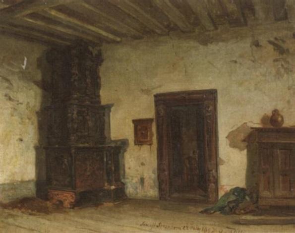 Interieur von Schloß Schönborn. Blick in eines altes Zimmer mit ...