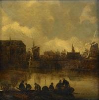 kanalscen med figurer i båt by cornelis simonsz van der schalcke