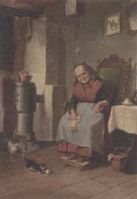 interior med strikkende kone i kakkelovnskrogen by oluf simony jensen