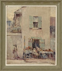 french quarter street scene with figures by arnold e. turtle