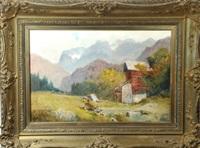 schäfer mit herde bei einer wassermühle am mittenwalder gebirgsbach by ludwig correggio