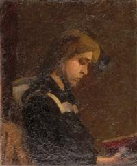 portrait einer lesenden dame im profil by s. weber