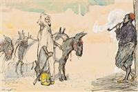 orientalische szene mit einem haik tragenden eselstreiber und einem pfeifenrauchenden mann, der sich lässig an eine wand anlehnt by max slevogt