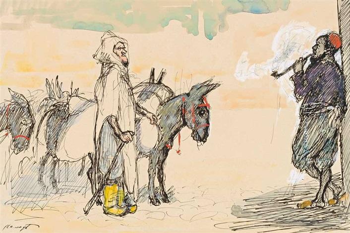 orientalische szene mit einem haik tragenden eselstreiber und einem pfeifenrauchenden mann der sich lässig an eine wand anlehnt by max slevogt