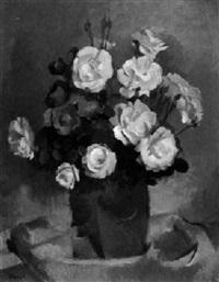 stilleben mit roten und weißen rosen by alexander posch