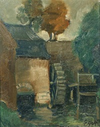 water mill at dusk by charles eyck