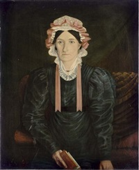 portrait of a lady in a black dress with a white lace bonnet and pink bow, holding a book by w. ashton