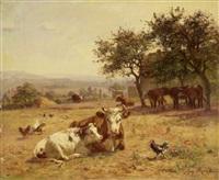 vaches couchées dans un chaumes by aymar (aimard alexandre) pezant