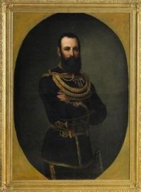 porträtt av kung karl xv klädd i uniform - stående knästycke by vilhelm (johan v.) gertner
