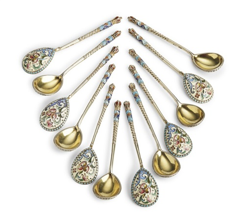 A set of twelve Russian silver-gilt and shaded cloisonné