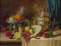 stilleben mit früchten, aufsatzschale, römer und schenkkrug by alois zabehlicky