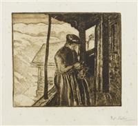 femme tricotant by edouard (eugène françois) vallet